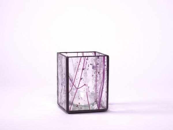 "Teelicht "" Light "" Mardi Gras goldrosa violett 7,5x7,5x10cm"
