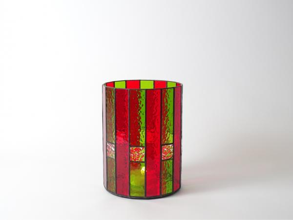 Candle Holder CHALET green red cathedral, 16 x 21cm