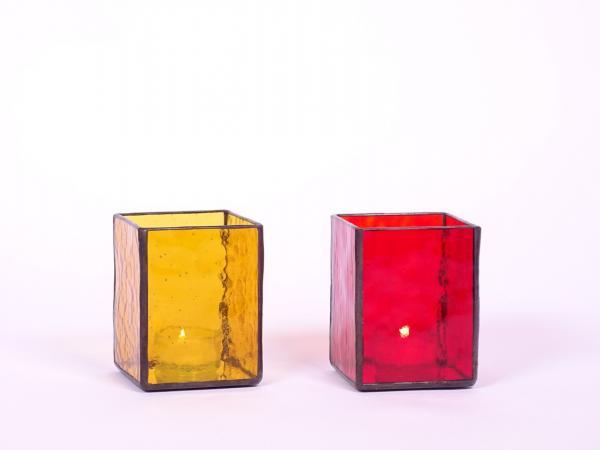 Windlicht AMBIENTE Set bernstein + rot 7,5x7,5x10cm