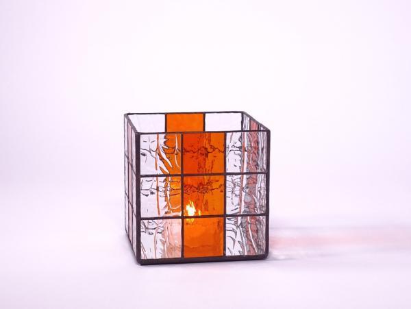 Kerzenleuchter Quadro Würfel orange, ca. 16x16x16cm