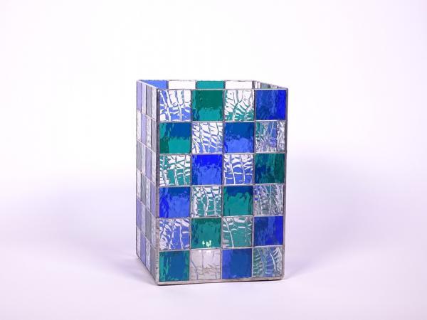 Kerzenleuchter Quadro blau teal, ca. 16x16x24cm