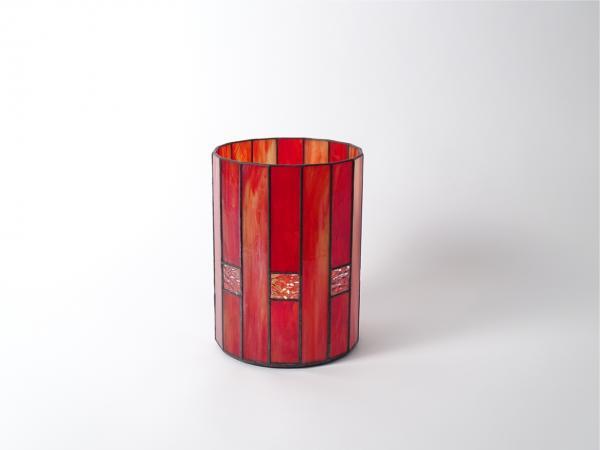 Kerzenleuchter LANDHAUS Rot opalescent marmoriert, 16 x 21cm