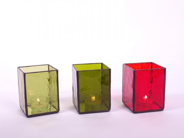 Windlicht AMBIENTE Set taverne + taverne dunkel + rot 7,5x7,5x10cm