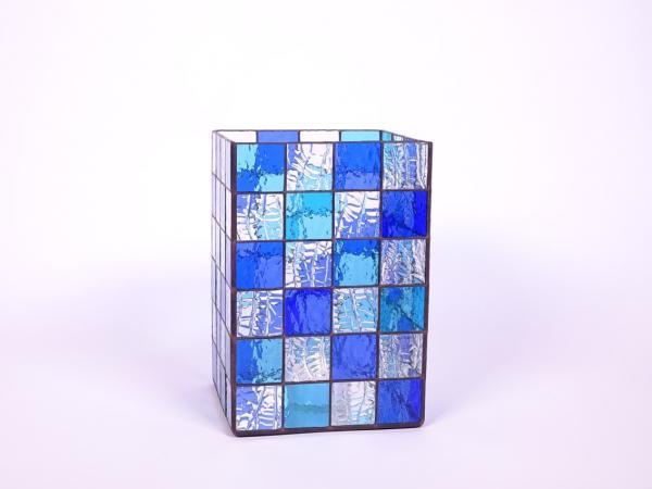 Kerzenleuchter Quadro aquamarin blau, ca. 16x16x24cm