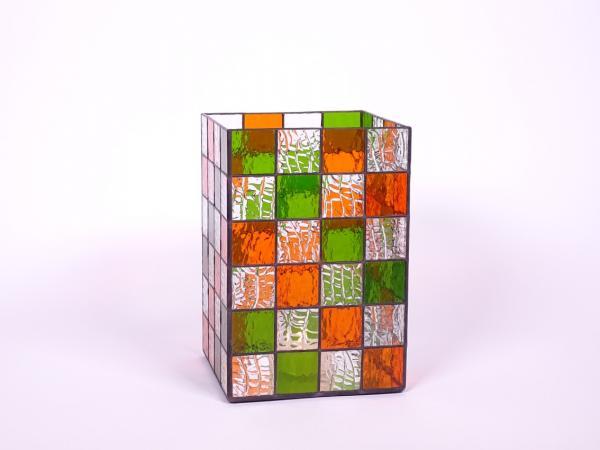 Kerzenleuchter Quadro frühlingsgrün orange, ca. 16x16x24cm