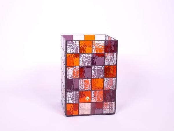 Kerzenleuchter Quadro violett orange, ca. 16x16x24cm