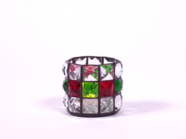 """Teelicht """" Brillant """" klar rot grün 6x7cm"""