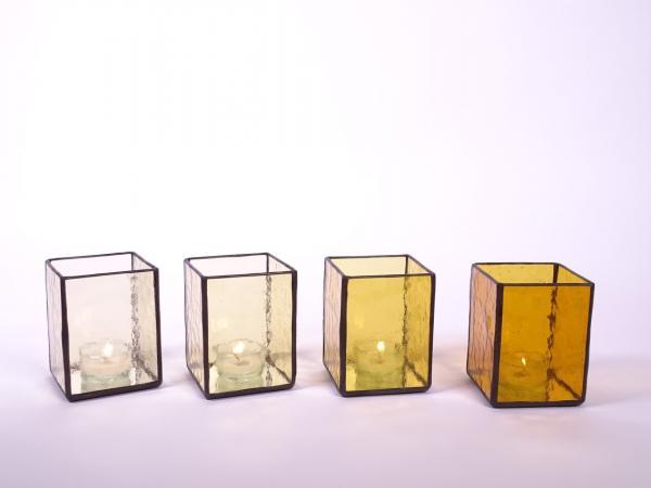 Windlicht AMBIENTE Set hell sandfarben + sandfarben + goldfarben + bernstein 7,5x7,5x10cm