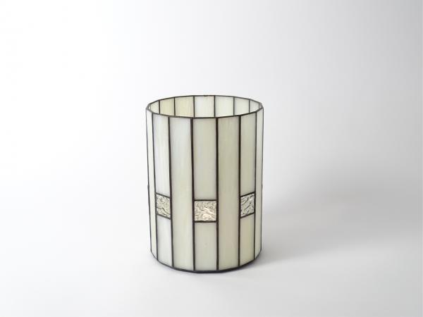 Candle Holder CHALET beige streaky opalescent, 6 x 8""