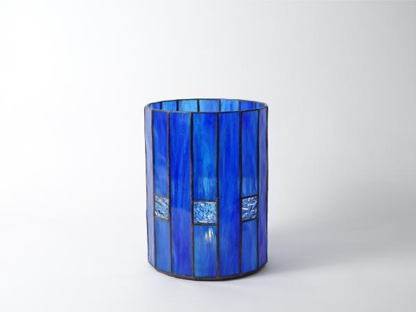 "Candle Holder CHALET blue light blue, 6"" x 8"""