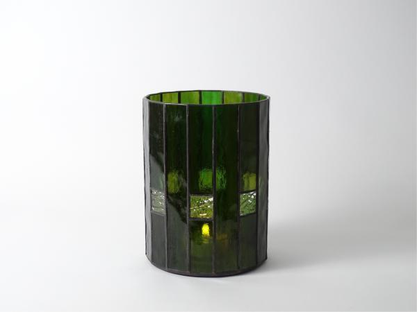 """Candle Holder CHALET dark green with amber, 6 x 8"""""""