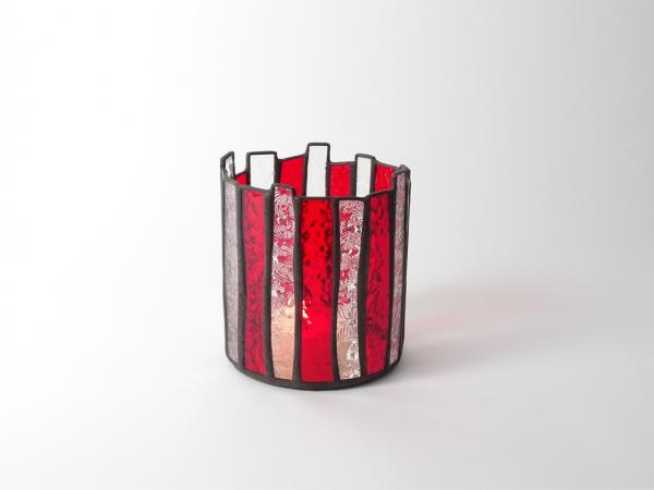 Candle Holder MARRAKECH red florentine 5 x 5 x 5.5""