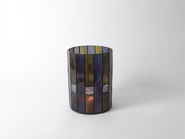 Kerzenleuchter LANDHAUS Violett Bernstein, 16 x 21cm