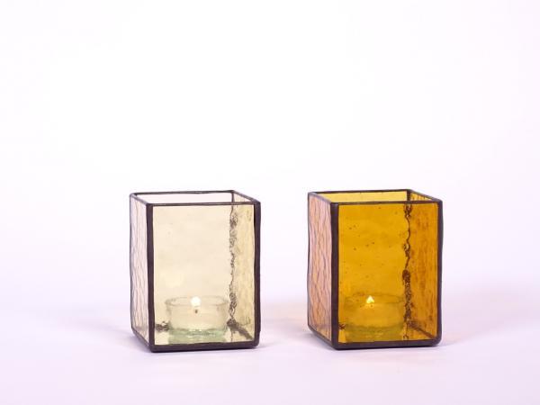 Windlicht AMBIENTE Set sandfarben + bernstein 7,5x7,5x10cm
