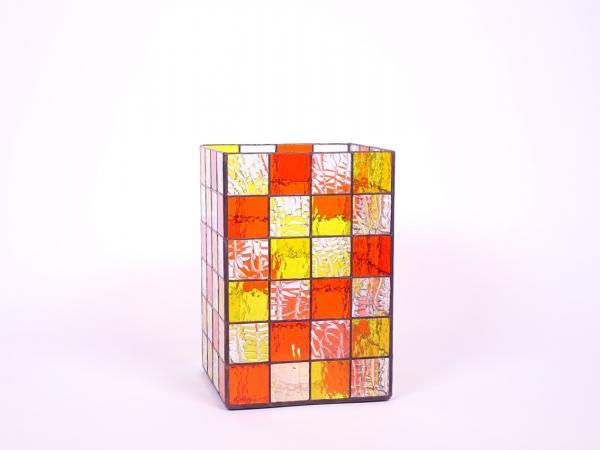 Kerzenleuchter Quadro gelb orange, ca. 16x16x24cm