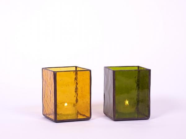 Windlicht AMBIENTE Set bernstein + taverne dunkel 7,5x7,5x10cm