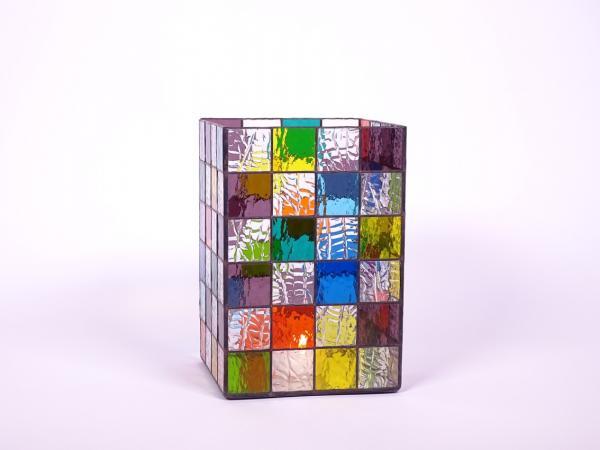 Kerzenleuchter Quadro farbenfroh, ca. 16x16x24cm