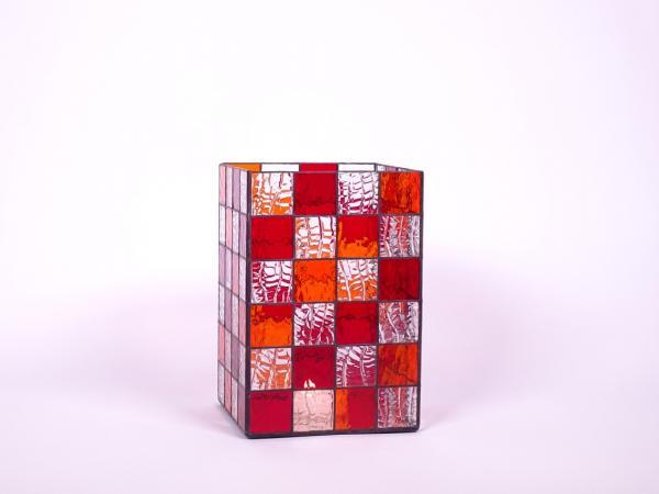 Kerzenleuchter Quadro rot orange, ca. 16x16x24cm