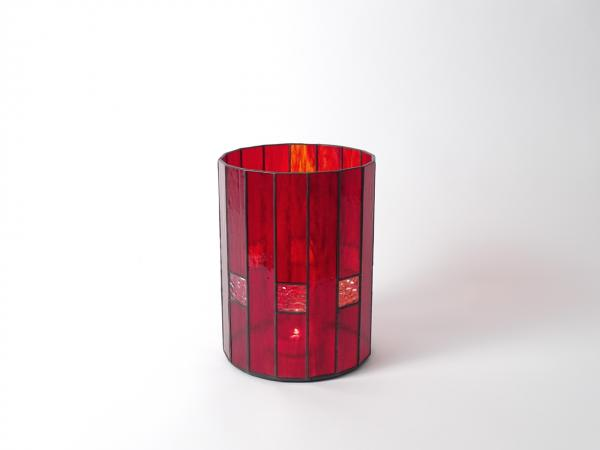Candle Holder CHALET red streaky, 16 x 21cm