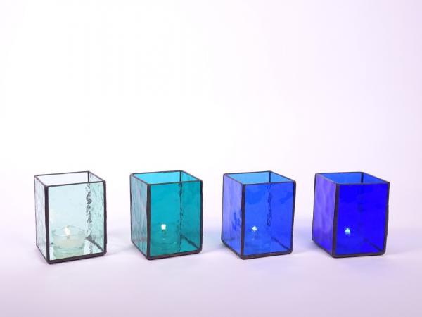 Windlicht AMBIENTE Set hell aqua + aqua + blau + kobaltblau 7,5x7,5x10cm